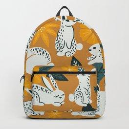 Bunnies & Blooms - Ochre & Teal Palette Backpack