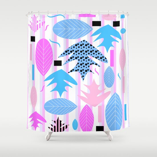 Leaf Mix In Pink And Blue Shower Curtain By CocoDes Society6