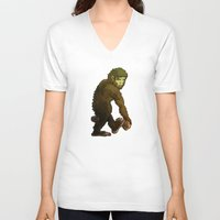 bigfoot V-neck T-shirts featuring Bigfoot by JoJo Seames