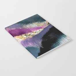 Gemini: a vibrant, colorful abstract piece in gold, purple, blue, black, and white Notebook