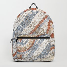 Mosaic Heart | Cute Red Blue and White Tile Old World Charming Decorative Cool Stone Photograph Backpack