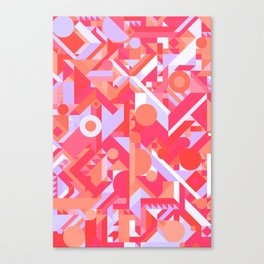 GEOMETRY SHAPES PATTERN PRINT (WARM RED LAVENDER COLOR SCHEME) Canvas Print