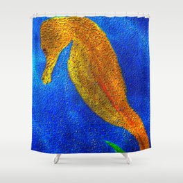 Golden Seahorse Shower Curtain