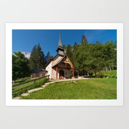 Small church surrounded by nature under the Seekofel Art Print