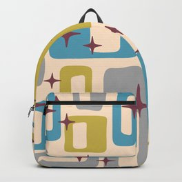 Retro Mid Century Modern Abstract Pattern 924 Turquoise Gray Olive Backpack