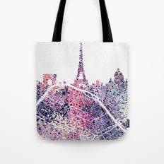 Paris Skyline + Map #1 Tote Bag