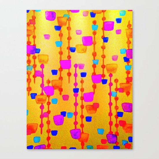 POLKA DOT MATRIX - Bright Bold Cheerful Dotty Geometric Squares Circles Abstract Watercolor Painting Canvas Print