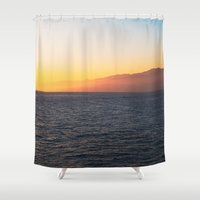 santa monica Shower Curtains featuring Santa Monica Sunset by emmacanfield