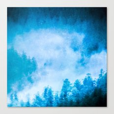 Galaxy Forest 5 - Blue Stars and Space Trees Canvas Print