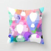 hot air balloons Throw Pillows featuring Hot air balloons by Ingrid Castile