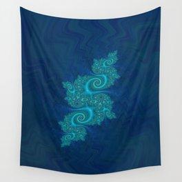 Velvet Dragon Fractal - Blue Wall Tapestry