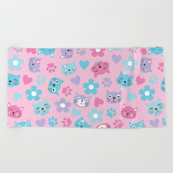 Kitty Cat Pattern by Everett Co Beach Towel