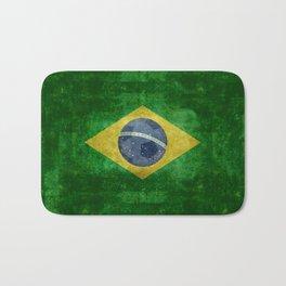 Vintage Brazilian flag with football (soccer ball) Bath Mat