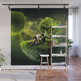 The Lovers, romantic magical realism portrait painting Wall Mural
