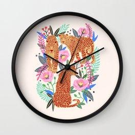 The Leopards, leopard print, animal print, flower print Wall Clock