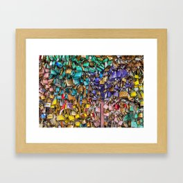 Pastel colored love locks in Paris   Noriko Aizawa Buckles Framed Art Print
