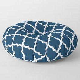Moroccan Quatrefoil Pattern: Navy Blue Floor Pillow