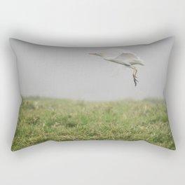 Egret in flight Rectangular Pillow