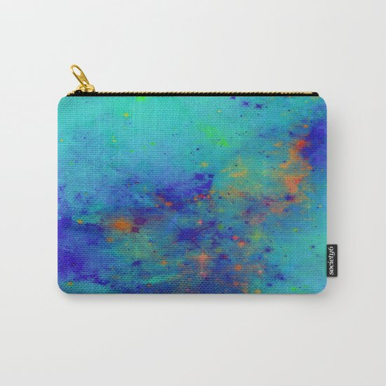 Blue Atmoshpere - Abstract in green, blue, orange and red Carry-All Pouch