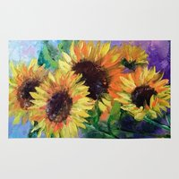 sunflowers Area & Throw Rugs featuring Sunflowers by OLHADARCHUK