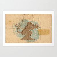 monkey island Art Prints featuring Monkey Island by sergio37