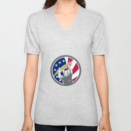 American Electrician USA Flag Icon Unisex V-Neck