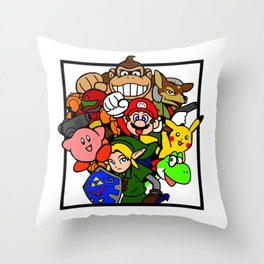 Super Smash 64 Roster Throw Pillow