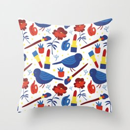 Birds in Primary Throw Pillow