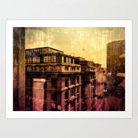 brussels Art Prints featuring Brussels by Flying Kiwi
