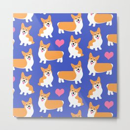 I Love Corgis Cute Pattern Metal Print