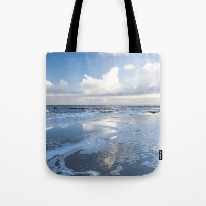 Cold day at the beach - Ocean blue on #Society6 Tote Bag