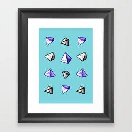 Blue Geometric Watercolor Pyramid Pattern Framed Art Print