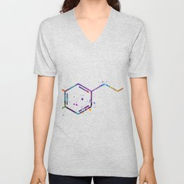Dopamine Hormone Art Gift Neurotransmitter Chemistry Gift Colorful Watercolor Art Molecule Art Unisex V-Neck