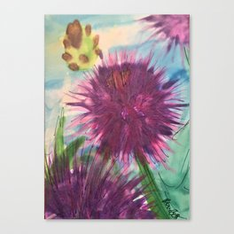 Purple Thistle Growing Canvas Print