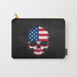 Flag of The United States on a Chaotic Splatter Skull Carry-All Pouch