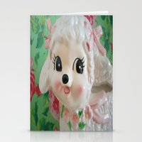 lamb Stationery Cards featuring  lamb  by Vintage  Cuteness