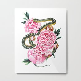 Garter Snake and Peonies Metal Print
