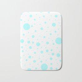 Mixed Polka Dots - Celeste Cyan on White Bath Mat