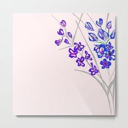 Delphinium on Light Pink Metal Print