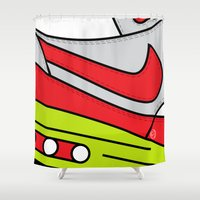 nike Shower Curtains featuring SNEAKERPILLOW - NIKE AIR MAX ONE OG CW by SNEAKERPILLOW