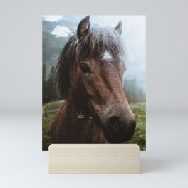 Brown Pony with a Cute Face Mini Art Print