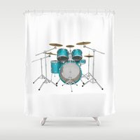 drum Shower Curtains featuring Green Drum Kit by PhantomLiving