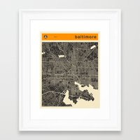 baltimore Framed Art Prints featuring BALTIMORE by Jazzberry Blue