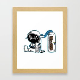 Coffee fueled astronaut Framed Art Print