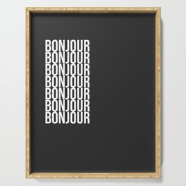 BONJOUR Word Art in Black and White Serving Tray