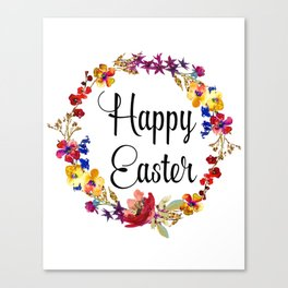 Happy Easter floral wreath Canvas Print