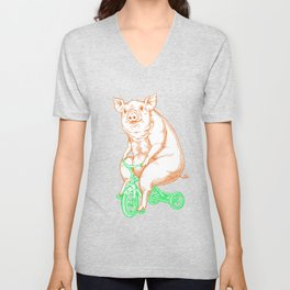 Piggy on a Tricycle Unisex V-Neck