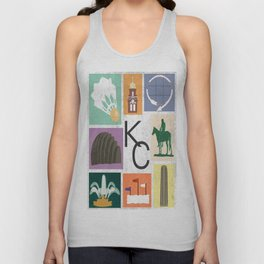 Kansas City Landmark Print Unisex Tank Top