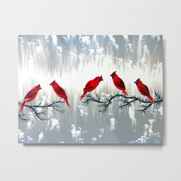 Grey art with REd cardinals Metal Print