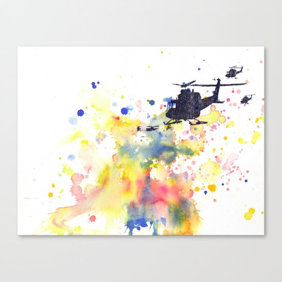 Helicopter Flying into Color Canvas Print